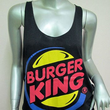 Burger King T-shirt Women shirt women Tank Tops Vest Silk Screen sexy Singer Music Rock Punk heavy metal Black K12 Size M L