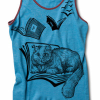 Womens CAT Racerback Tank Top Flying Books for yoga S M L XL
