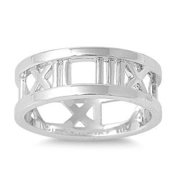 Sterling Silver 925 HIGH POLISH ROMAN NUMERAL DESIGN SILVER RING 8MM SIZES 4-12