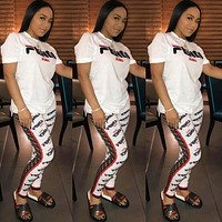 Fendi New fashion more letter print top and pants two piece suit White