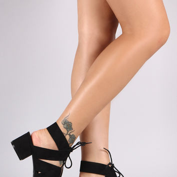 Qupid Strappy Chunky Kitten Heel
