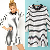 Long Sleeve Lace Collar Striped Knit Long Pullovers Sweater