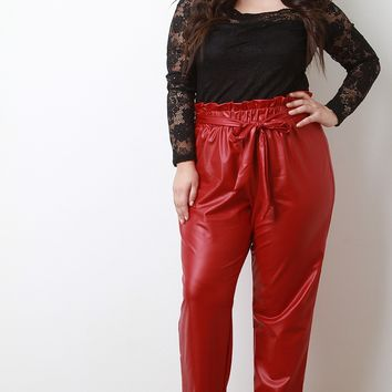 Ruffle Waist Vegan Leather Slouch Pants