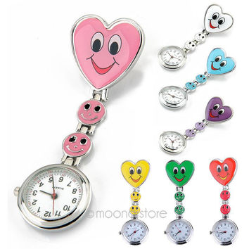 Factory Price Fob Quartz Metal Nurse Watch Sweet Heart Design with smiling face Medical Use Clip Watch Fast Shipping FYMPJ282#Y5