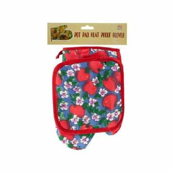 Quilted Fruit & Floral Print Oven Mitt & Pot Holder Set ( Case of 54 )