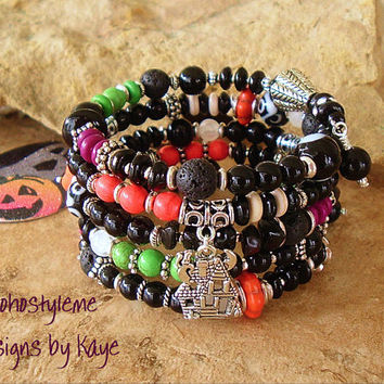 Halloween Jewelry, Whimsical Jewelry, Beaded Layered Bracelet, Haunted House, Witch, Orange Skull, Bohostyleme, Designs by Kaye Kraus