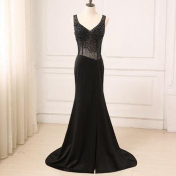 Crystal Black Party Occasion Formal Long Evening Dress Illusion Body Floor Length Mermaid Prom Gowns