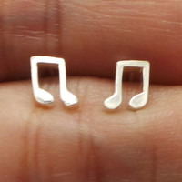 Music Note Sterling Silver Ear Stud Earring - Quaver Musical Note Jewelry - for Music Lovers, Alto choir gift