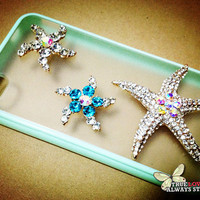 Bling bling 3D starfish bows rudder iphone 4 case iphone 4s case iphone 5 case cover sumsang galaxy s2 s3 s4 note 2 case