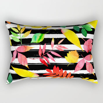 Watercolor Leaves Rectangular Pillow by Smyrna