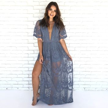Wine & Dine Embroidered Maxi Dress in Dusty Blue