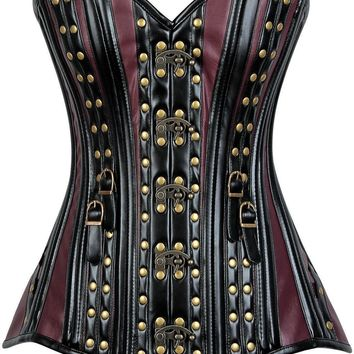 Daisy Corsets Top Drawer Faux Leather Steel Boned Corset w/Rivets