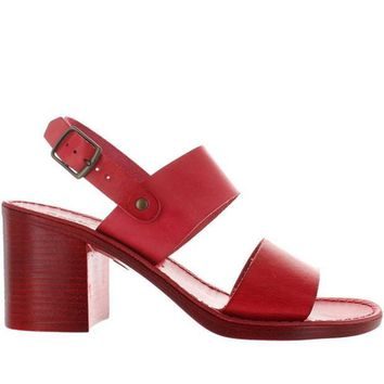 CREYONIG Seychelles State Of Mind - Red Leather Wide Band Sandal