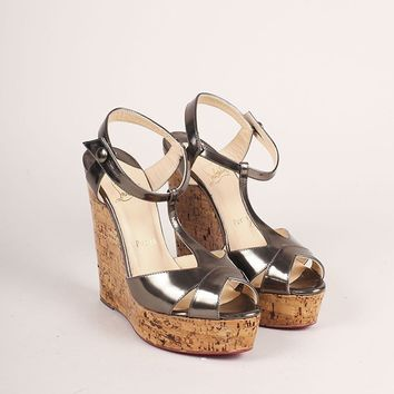 CREYU2C Silver Metallic Lacquered Cork Strappy Wedge Sandals