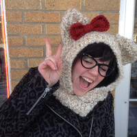 Hello Kitty Bow and Ears Hooded Cowl Hat Neckwarmer: Made To Order