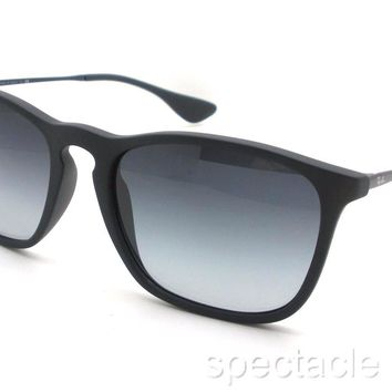 Ray Ban RB 4187 622/8G Black Rubber Grey Gradient New Sunglasses Authentic