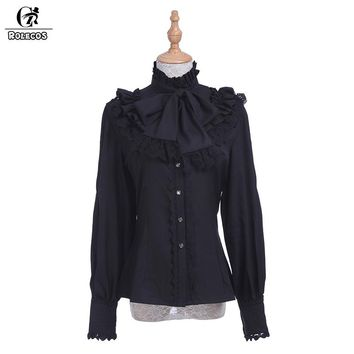 ROLECOS Brand New Fashion Women Blouse Chiffon Black White Long Sleeve Shirt Gothic Style Sweet Ruffle Lolita Blouse for Woman