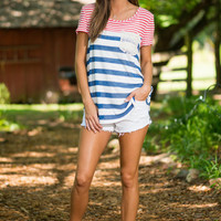 Casual Living Top, Blue-Red
