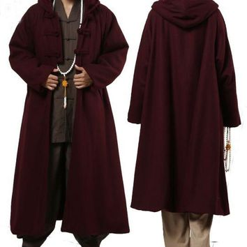 4colors red/gray/camel yellow/brown winter warm wool Buddhism Shaolin monks robes Lay Buddhist cape meditation cloak