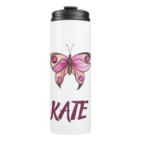 Pink Butterfly Fancy Thermal Tumbler