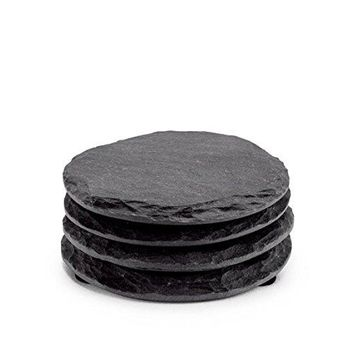 Round Slate Coasters by EMEMOreg  Set of 4 Unique Handmade Coasters For Drinks Beverages Wine Glasses  Elegant Look amp Unmatched Furniture Protection  Made Of Genuine Black Slate