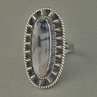 OLD PAWN Vintage Native American Petrified Wood Ring Navajo SOLID Sterling Silver 16.9 Grams c.1940s