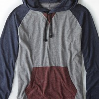 AEO Men's Colorblock Hoodie T-shirt (Gravel Heather)