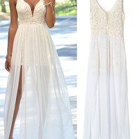 White Deep Plunge Sheer Tulle Panel Lace Backless Prom Maxi Dress