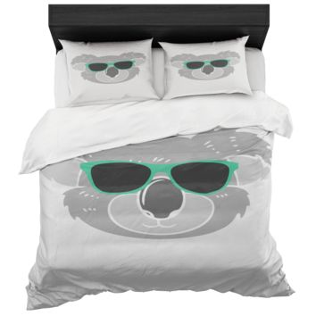 Koala Duvet Cover And 2 Standard Pillow Shams King And Queen Sizes Microfiber Fabric