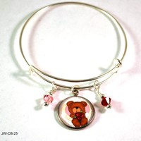 Teddy Bear Bangle Bracelet with Charms and Swarovski Crystals