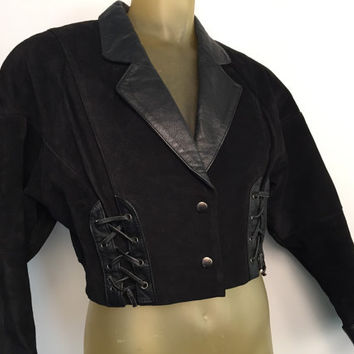Cropped 80s Jacket Black Suede Leather Jacket Cropped Blazer Lace Up Puffed Sleeve Tapered 80s Rocker Valley Girl Punk Rocker Rebel Jacket M
