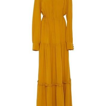 Yellow Long Sleeve Turtle Neck Women's Maxi Dress