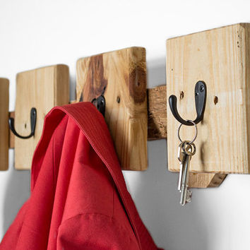 Coat Hooks - Reclaimed Wood Coat Rack - Modern Entryway Coat Hooks - Entryway Organization - Key Hook - Industrial Coat Rack - Pallet Wood