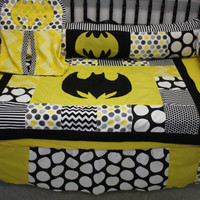 6 pc black chevron dot batman crib bedding- free personalized  pillow