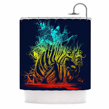 "Frederic Levy-Hadida ""Wild Nature"" Rainbow Zebra Shower Curtain"