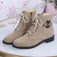 GUCCI Women Fashion Bee Tiger Leather Boots Shoes