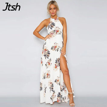 Floral Print Halter Chiffon Long Dress Women White Split Beach Summer Boho Dress Sexy Backless Maxi Dresses Vestidos Sundress