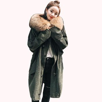 2017 Winter Women's corduroy cotton-padded Coats Jacket Warm long thicker Woman Park Jackets Hooded fur collar outerwear QH0909