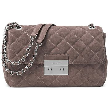 Michael Kors Large Sloan Suede & Chain Shoulder Bag Cinder
