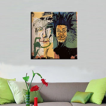 Wall Pictures For Living Room Free Shipping, Jean Michel Basquiat Decoration Painting, Dos-cabezas - Famous Artist Reproduction