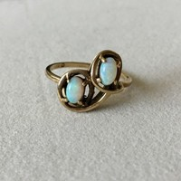 Vintage 10k solid yellow gold natural Opals ring antique ever us toi et moi deco