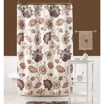 Paisley Floral Leaf Fabric Shower Curtain Beige Orange Brown 100-percent Polyester
