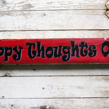 Pallet Wood Wall Hanging for Living Room, Wood Signs Sayings, Happy Thoughts Only