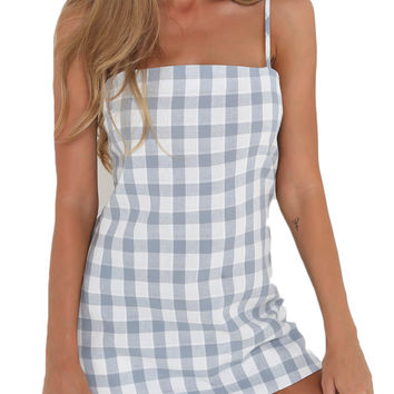 Blue Plaid Knot Back Cut Out Spaghetti Strap Mini Dress