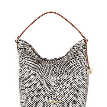 Brahmin Black Java Collection Harrison Snake-Embossed Convertible Hobo Bag | Dillards.com