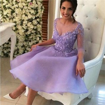 Lavender robe de cocktail With  Sleeves Appliques Illusion Flowers Beaded Knee Length Cocktail Dresses 2016