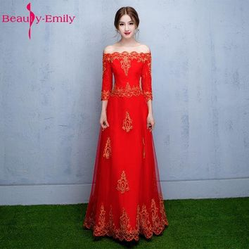 Beauty-Emily A-Line Red Bridesmaid Dresses 2017 Homecoming Dresses Boat Neck Appliques Plus Size Prom Party Dresses