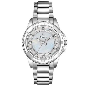 Bulova Diamond Ladies Watch - Mother-of-Pearl Dial - Stainless Steel - 30M WR