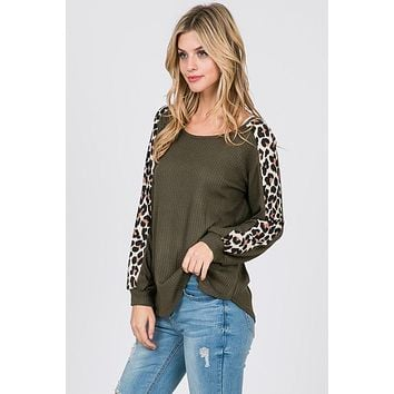 Bishop Sleeve Leopard Print Top - Olive