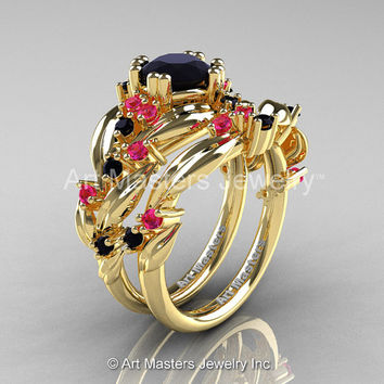 Nature Classic 18K Yellow Gold 1.0 Ct Black Diamond Pink Sapphire Leaf and Vine Engagement Ring Wedding Band Set R340S-18KYGPSBD